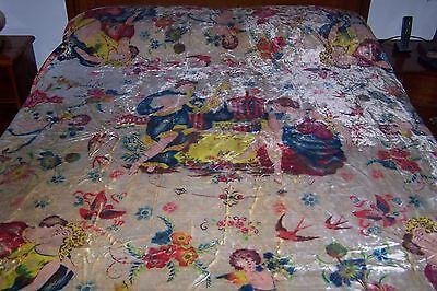 Vintage Antique Italian Velvet Bedspread-94 x 96-Cherubs-Medallion-Roses Fringe