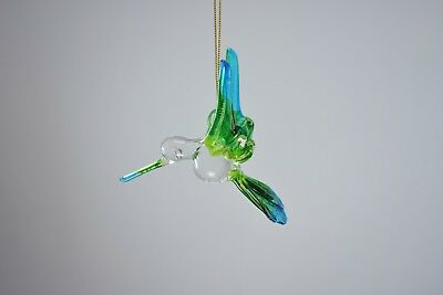 Hanging Humming Bird Blue Green Figurine of Blown Glass Crystal