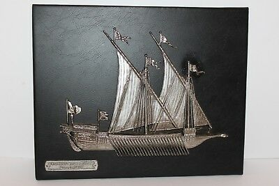 Galera La Reale 1680 Black Leather Plaque Made In Spain By Rodex. RARE