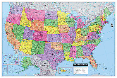 Usa United States Wall Map Poster 36 X24  Multi Color Paper Factory Folded