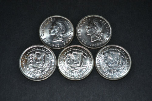 Dominican Republic 1963 25 Centavos SILVER Commemorative Choice BU Lot - 5 Coins