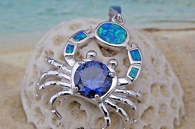 Blue Crab Pendant (LARGE REAL STERLING SILVER BLUE OPAL CRAB PENDANT WITH TANZINITE CZ )