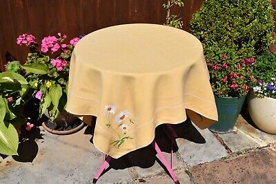 Vintage sunflowers embroidery linen table cloth with flowers 42