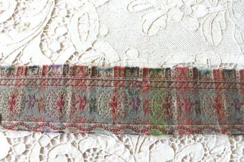 "Early Antique Kashmir Woven Paisley Border Fabric~L-36"" X W-2"""