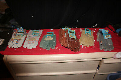 Lot Of 12 Leather Work Gloves Sz Large