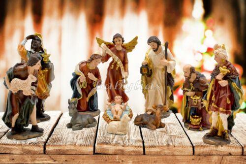 Nativity Scene Set Christmas Figures Polyresin Figurines Baby Jesus-11 PIECE SET