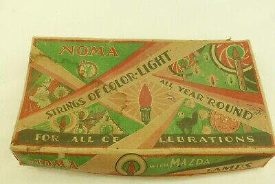 Vintage Noma Strings Of Color-Light Set With Box very Old Christmas Lights & Box