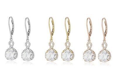 (18k White gold gf made with swarovski crystal filigree huggies earrings infinity)