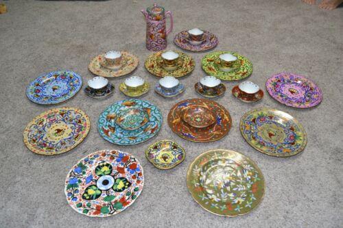 35 Pcs. Hand Painted Royal Vienna Beehive Tea Set Plates