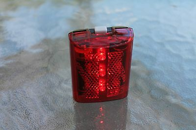 3 LED 3-MODE RED- FLASHING/ STEADY ON/ CLIP-ON Red Bike Bicycle Safety Light