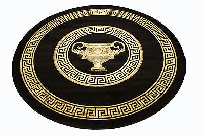 mander teppich mit versace muster rund 150 schwarz k seide medusa belle arti - Versace Muster