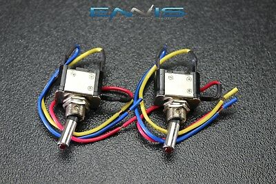 2 Pcs Metal Toggle Switch On Off Red Led 12v 20 Amp 3 Pin Is-ec-mt1220red