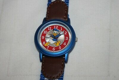 Vintage Lorus Donald Duck Watch Blue White Fabric Band Duck Arm Minute Hands