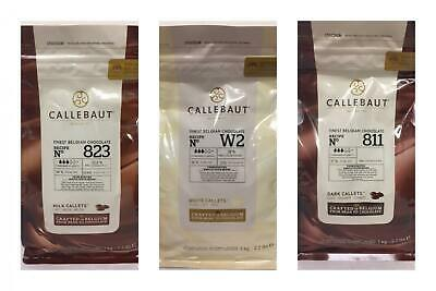 Callebaut Chocolate Chips - Finest Belgian Chocolate Chips 1kg Bag - Milk White Dark