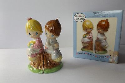 Precious Moments Simply Adorable Loving Caring Sharing Porcelain S/P Set NIB