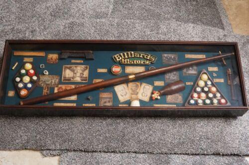 Man Cave Vintage Billards Shadow Box Items in Display Case Wall Hanging