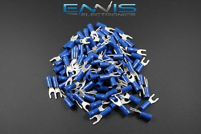 14-16 Gauge Vinyl Locking Spade 8 Connector 25 Pk Blue Crimp Terminal Awg