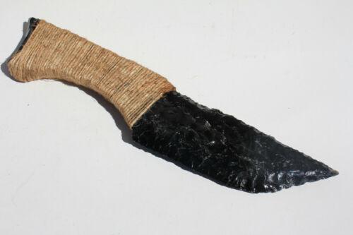 Twine Wrapped Handle-Paleo/Primitive Flint Knapped Obsidian Knife/Dagger