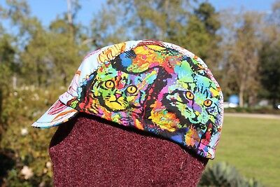 784a76808dd319 CYCLING CAP CATS & DONUTS 100% COTTON HANDMADE IN USA