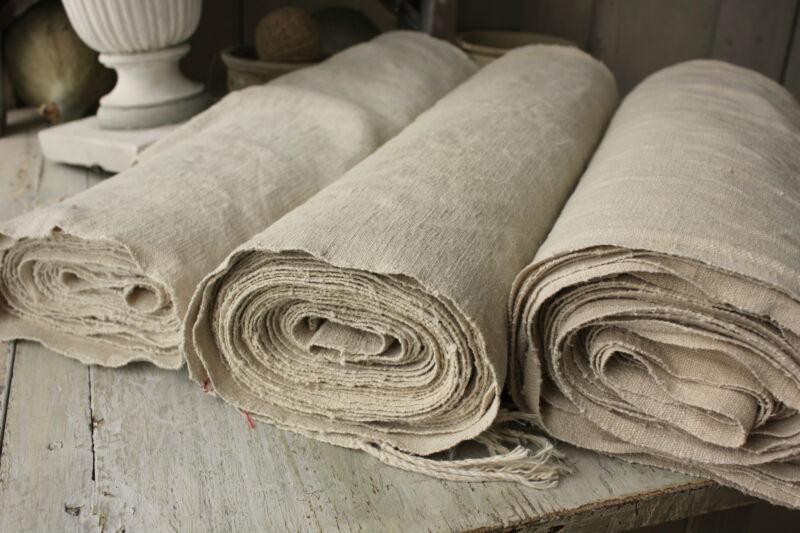 Bolt Antique upholstery fabric homespun linen hemp 38.4 YARDS long & WIDE washed