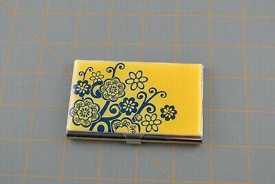 Business Card Holder Pocket Sized Snap Closure Storage Case Flower Design Metal