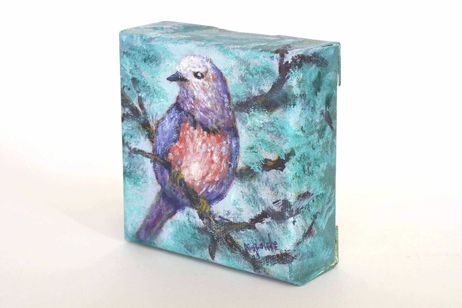 Original Textured Oil Painting Lilac Bird L1 By Napolske  - $10.00