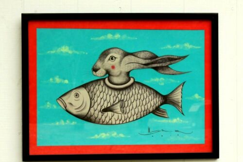 Original Mexican Acrylic Fine Art Painting Signed Collectible Decor Fish/Rabbit