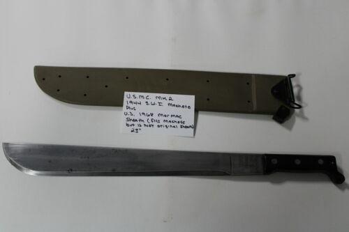 """Reproduction USMC 1944 MK2 Machete, 23"""" S.W.I. Military WWII, 1968 Marmac Sheath"""
