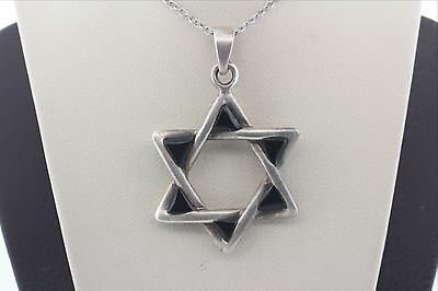 Vintage Sterling Silver 925 Black Onyx Jewish Star of David Pendant