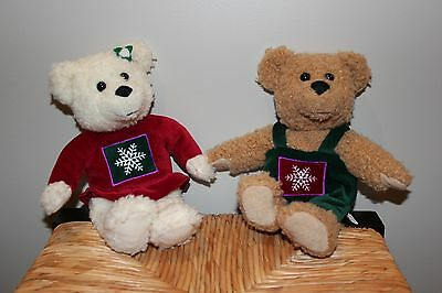 Hallmark Kiss Kiss Plush Bears Magnetic Christmas Lot of 2 Stuffed Teddy Animal