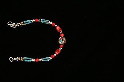 "HANDMADE TIBETAN NEPALESE DAINTY TURQUOISE CORAL BRASS 6 "" BRACELET"