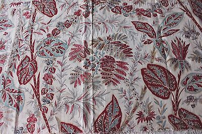 Beautiful French Antique Hand Blocked & Hand Painted c1800 Indienne Fabric