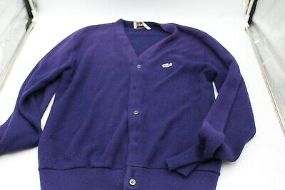 VINTAGE Lacoste Blue Acrylic Button Cardigan Sweater. Size Large Please read