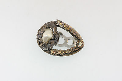 AUTHENTIC ANTIQUE VICTORIAN STERLING SCARF DRESS CLIP w/FABULOUS BAROQUE PEARL