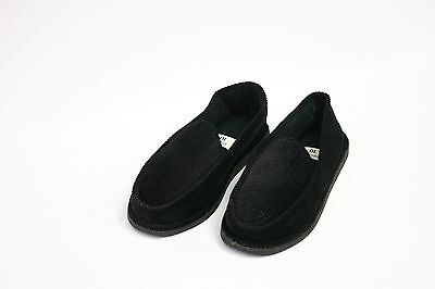 Mens Slippers House Shoes Black Corduroy Moccasin Slip On Indoor Outdoor Comfort