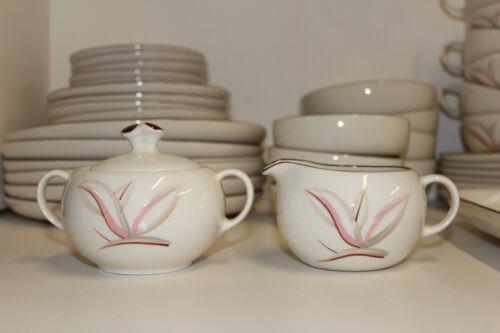 Winfield China DRAGON FLOWER Pottery MCM Dinnerware; Creamer & Sugar Bowl Set