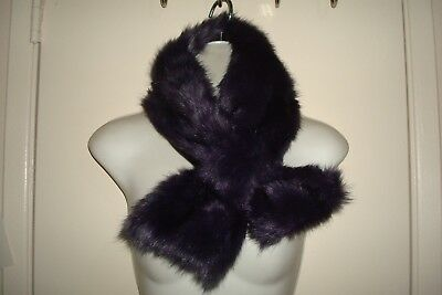 Women's Goth Vamp Dark Purple Faux Fur Pull Through Collar Scarf Very Soft