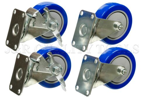 """Set Of Four 4"""" Heavy Duty PU Swivel Casters, Blue Wheel, 2 With Brake, 2 Without"""