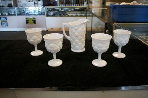 Westmoreland OLD QUILT BLOCK White Milk Glass Beverage PITCHER & Set 4 GOBLETS