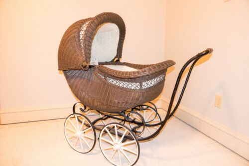 Antique Sidway Wicker Baby Doll Carriage Pram Stroller w/ Adjustable Canopy