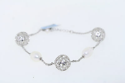 NEW Sterling Silver 14mm Ball & 11-12mm Oblong Genuine Pearl Bracelet 8 Inches