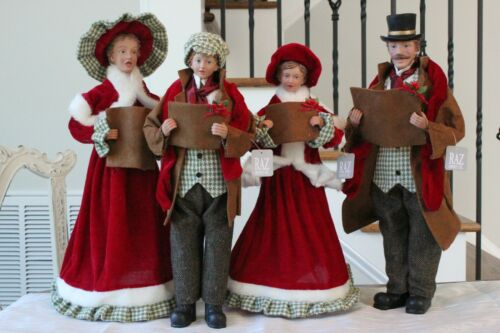 Carolers Statue Raz Imports Christmas Carolers Set/4 New Large Red Green