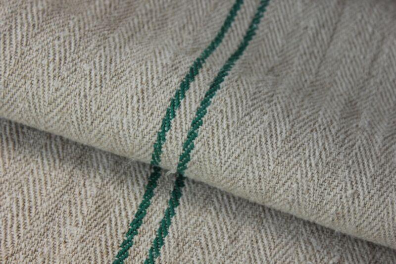 Grainsack Grain Sack linen European feedbag GREEN stripes HEAVY hemp CHRISTMAS