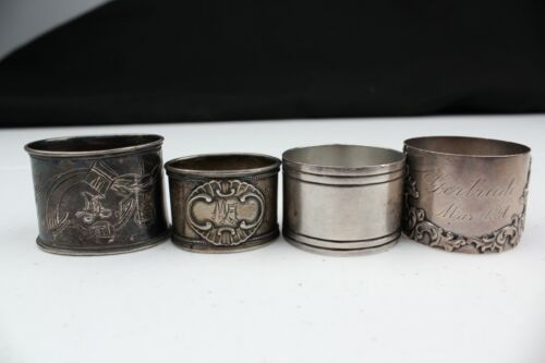 Vintage Estate Sterling Silver Napkin Rings Set of 4