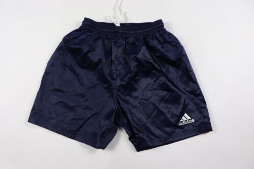 Vintage 90s New Adidas Youth Large Genoa Spell Out Nylon Soccer Shorts Navy Blue