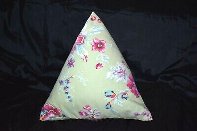 Les Olivades Triangle Pillow 100% Cotton Green Pink Great Condition  Groovy Pink Pillow