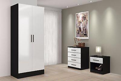 Black White High Gloss Bedroom Furniture Sets Wardrobe Drawers Chest Bedside