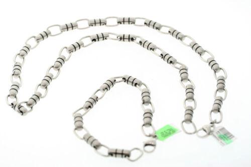 Lot of 5 Stainless Steel & Black Rubber 6mm Barrel Necklace & Bracelet Set