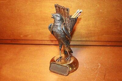 Figural Brass Crow or Black Bird Match Dispenser Striker Safe Vesta c1880s