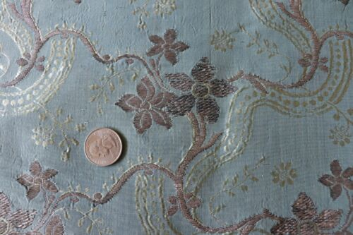 "French Or Italian Antique 18thC Blue Silk & Metallic Brocaded Fabric-44"" X 22"""